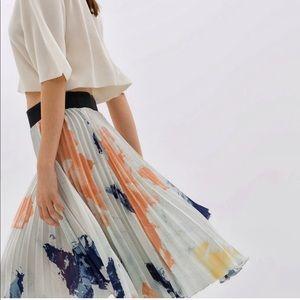 Zara Pleated Print Skirt